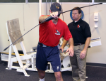 Release phase with a BodyBlade--focus on maintaining pelvic control while shaking blade